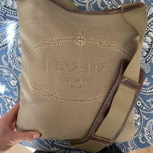 Auth Prada canvas embroidered logo crossbody bag